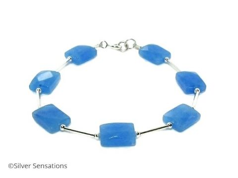 Blue Jade Faceted Oblong Beads & Sterling Silver Bracelet